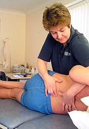 Physiotherapy treatment on a back injury
